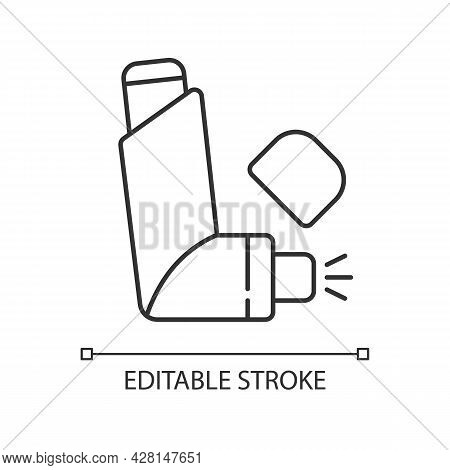 Inhaler Linear Icon. Preventing Asthma Attacks. Deliver Medication To Lungs, Airways. Thin Line Cust