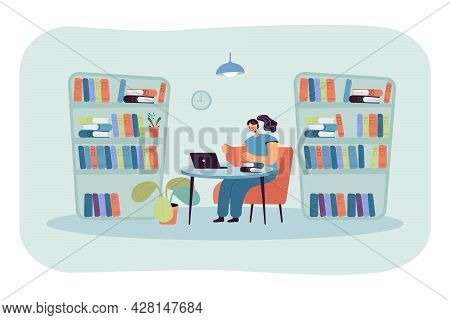 Young Lady Sitting At Desk In Library And Reading Book. Girl Studying In Room With Bookcases Flat Ve
