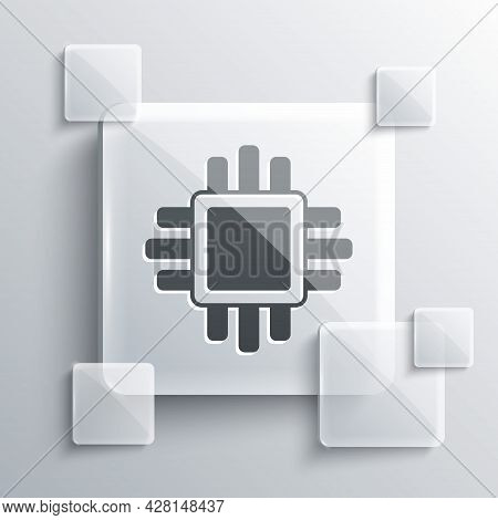 Grey Computer Processor With Microcircuits Cpu Icon Isolated On Grey Background. Chip Or Cpu With Ci