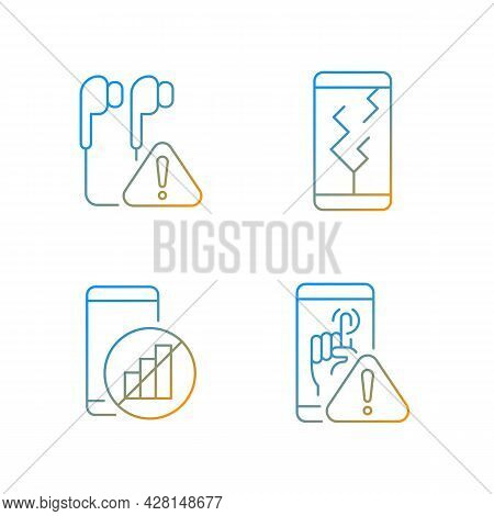 Smartphone Breakdowns Gradient Linear Vector Icons Set. Earphones Problem. Crushed Phone. Touchscree