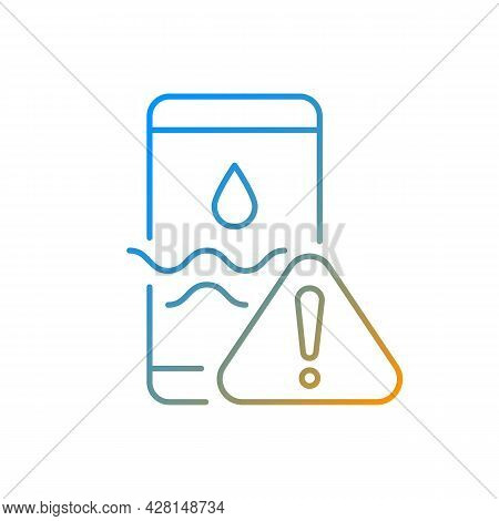 Water Damage Gradient Linear Vector Icon. Fix Liquid Damaged Mobile Phone. Drop Smartphone Into Wate