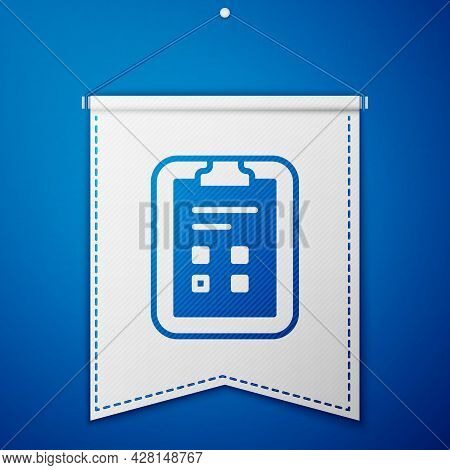 Blue Exam Sheet With Check Mark Icon Isolated On Blue Background. Test Paper, Exam, Or Survey Concep