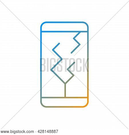 Screen Damage Gradient Linear Vector Icon. Cracks All Over Mobile Phone Display. Shattered And Broke