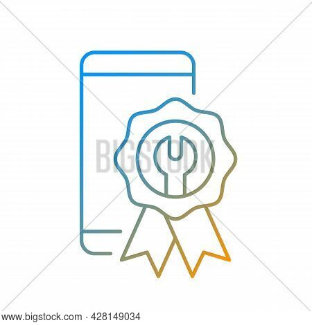 Certified Repairs Gradient Linear Vector Icon. Smartphone Authorized Renovate. Official Repair Servi