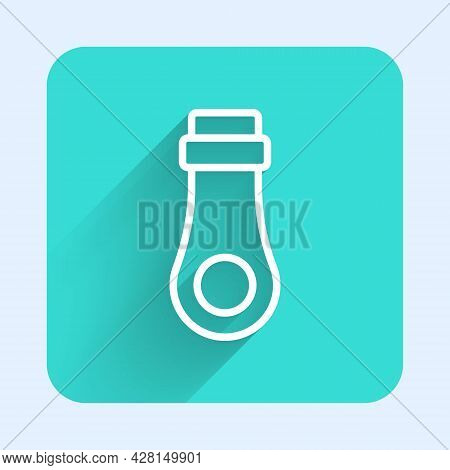 White Line Zipper Icon Isolated With Long Shadow. Green Square Button. Vector