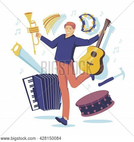 Multitasking Man-orchestra With Many Instruments: Guitar, Button Accordion, Tambourine, Trumpet, Dru