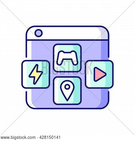 App Distribution Platforms Rgb Color Icon. Providing Applications For Mobile Devices. Promoting App
