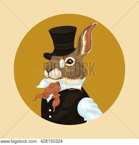 People Art Animal Hare, Character Portrait Animal In Cloth Fashion. Hipster Animal