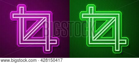 Glowing Neon Line Picture Crop Photo Icon Isolated On Purple And Green Background. Vector