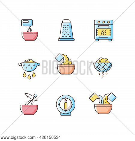 Food Cooking Instruction Rgb Color Icons Set. Beat Ingredient In Bowl. Grate For Cutting. Meal Prepa