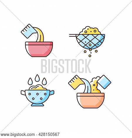 Food Preparation Instruction Rgb Color Icons Set. Pour Liquid In Bowl. Sift Ingredient. Rinsing Rice