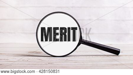 The Magnifying Glass Stands Vertically On A Light Background With The Text Merit