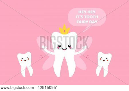 National Tooth Fairy Day Vector Cartoon Style Greeting Card, Illustration With Cute Cartoon Style To