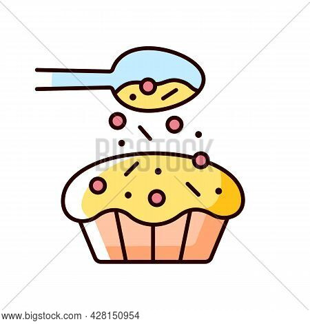 Sprinkle For Baking Rgb Color Icon. Pouring Topping From Spoon On Cupcake. Dessert Recipe. Cooking I