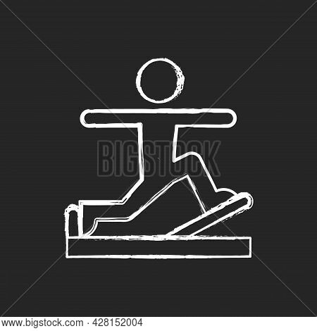 Pilates Chalk White Icon On Dark Background. Online Fitness Self Improvement Item. Physical And Cult