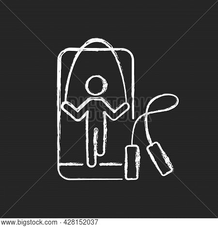 Online Rope Jumping Workout Chalk White Icon On Dark Background. Jump Fitness Coach Experience. Trac