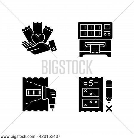 Playing Lotto Games Black Glyph Icons Set On White Space. Charity Gambling. Lottery Ticket Vending M