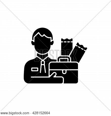 Lottery Agent Black Glyph Icon. Middleman Between Participator And Lottery Tickets Distributor. Part
