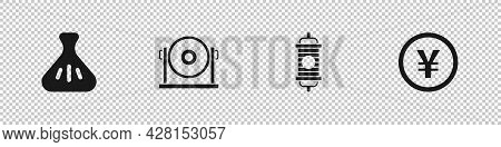 Set Dumpling, Gong, Chinese Paper Lantern And Yuan Currency Icon. Vector