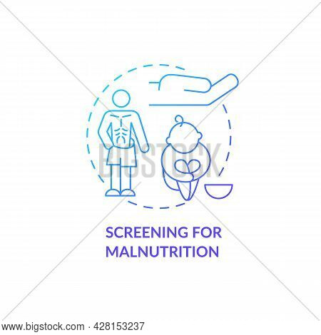 Screening For Malnutrition Concept Icon. Humanitarian Aid In Fight With World Hunger. Hungry Child A