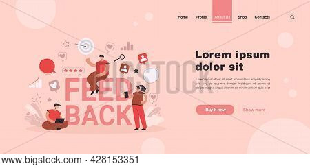 Cartoon Tiny People Getting Or Giving Feedback Online. Flat Vector Illustration. Customer Voting, Re