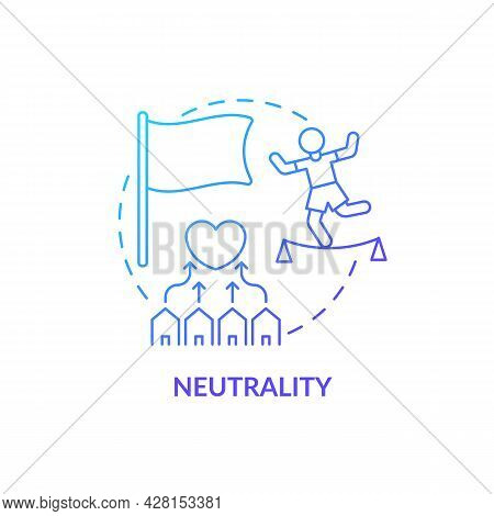 Neutrality Position And Mutual Understanding Concept Icon. Humanitarian Aid Stability. Balancing In