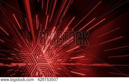 Neon Glowing Sci-fi Futuristic Background. 3d Rendering