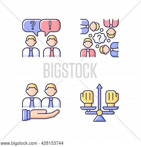 Collective Work Rgb Color Icons Set. Office Communication And Support. Conflict Management. Resolvin