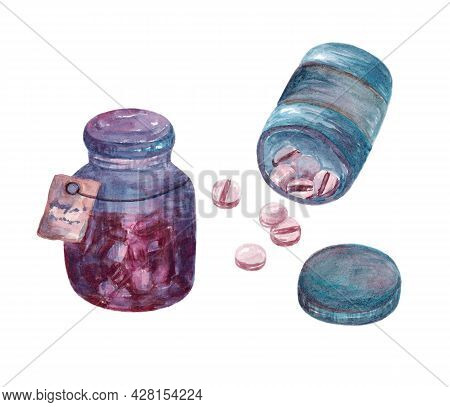 Set Pink Pills In Blue Jars. Medical Tablets Or Tablets Isolated On A White Background. Tablets Or T