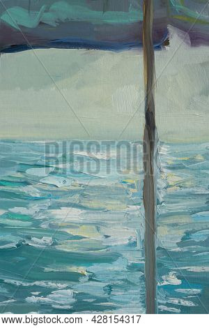 Abstract Oil Painting Blue Turquoise Sea. Summer Art Background. Natural Blue And White Pattern Of A