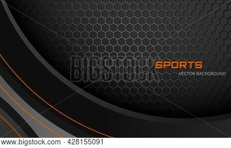 Dark Gray Abstract Sports Vector Background With Hexagon Carbon Fiber And Orange Lines. Futuristic M