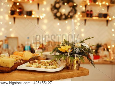 Platter With Some Organic Fresh Cheese. Tasting Dish On A Plate. Food For Wine. Festive Cheese And W