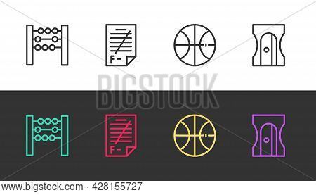 Set Line Abacus, Exam Paper With Incorrect Answers, Basketball Ball And Pencil Sharpener On Black An