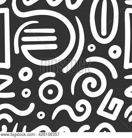 Seamless Abstract Pattern On Black Background. Vector Doodle Image. Graphic Geometric Ornament. Line