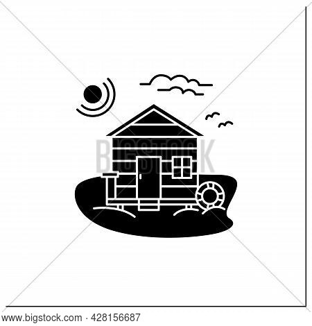 Beach Hut Glyph Icon. Wooden Comfortable House On Beach. Lifebuoy. Seascape. Rest Concept. Filled Fl