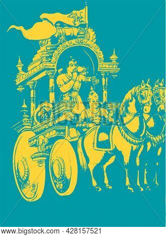 Sketch Of Lord Krishna And Arjuna In A Horse Chariot And Scenes Of Kurukshetra War In The Hindu Epic
