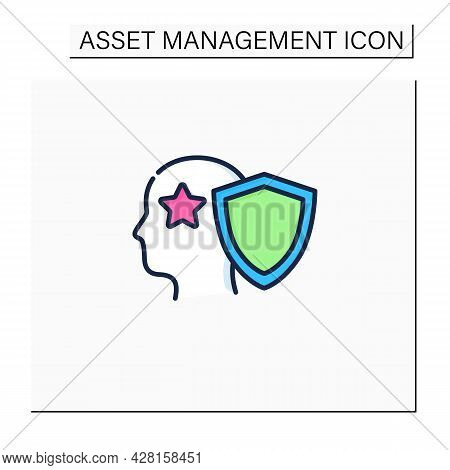 Intellectual Property Color Icon. Copyright. Intangible Creations. Law Protects. Asset Management Co