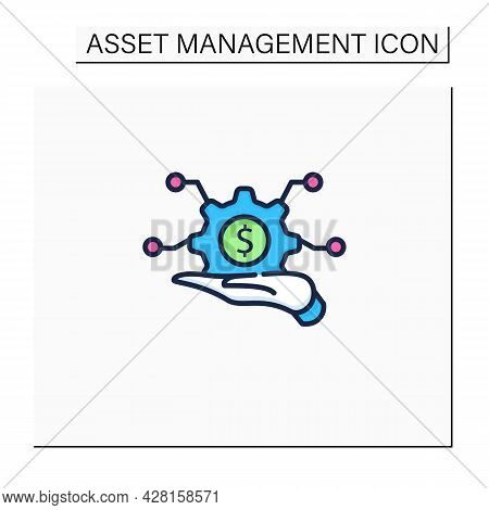 Infrastructure Asset Management Color Icon. Hand Keeps Asset.integrated, Multidisciplinary Strategie