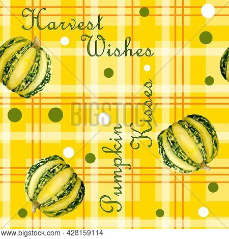 Seamless Pattern With Plaid Tartan Lumberjack Ornament And Thanksgiving Pumpkins. Warm Yellow Orange
