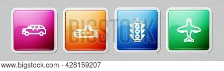 Set Line Hatchback Car, Submarine, Traffic Light And Plane. Colorful Square Button. Vector