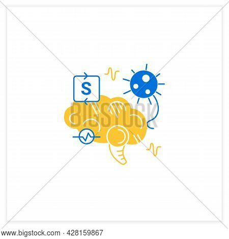 Neurological Symptoms Flat Icon. Covid Disease Molecule Attack Brain. Concept Of Corona Virus Neurol