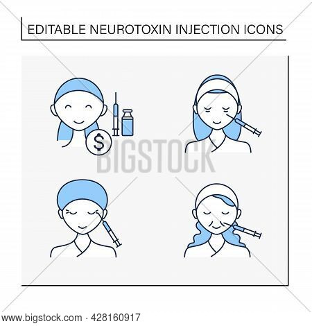 Cosmetic Injection Line Icons Set.beauty Correction. Eyes, Eyebrows Injection. Rejuvenation. Perfect