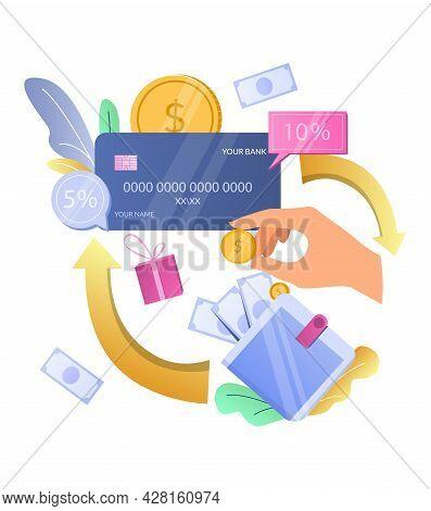 Earn Cashback Bonus. Cash Back Credit Card Reward, Vector Illustration. Cashback Reward Incentive Pr