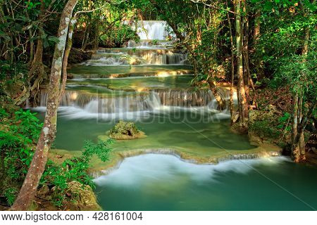 Waterfall In Tropical Green Forest, Western Thailand