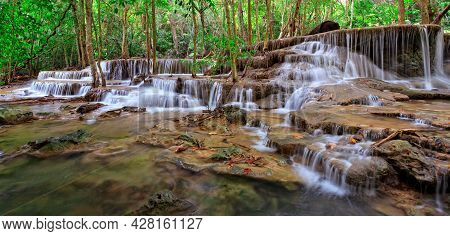 A Photo Of Waterfall In Tropical Forest, Western Thailand