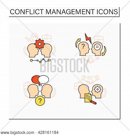 Conflict Management Color Icons Set.conflict Between Two Persons, Open Dialogue, Resolution Formaliz