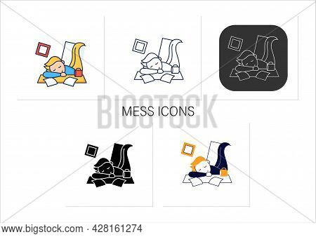 Mess Icons Set. Chaos In House. Laziness. Person Sleep On Desk. Procrastination Concept.collection O