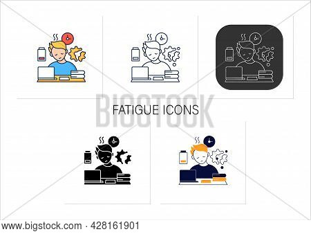 Fatigue Icons Set.tired Person. Too Many Tasks. Work Overload. Need Rest. Procrastination Concept.co