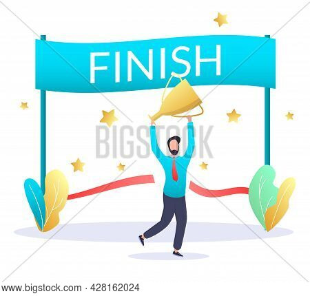 Finish Line, Happy Businessman With Trophy Award Cup, Vector Illustration. Finish Business Deal Conc