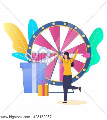Lucky Woman, Fortune Wheel Game Winner Getting Prize, Vector Illustration. Tv Game Show, Casino And